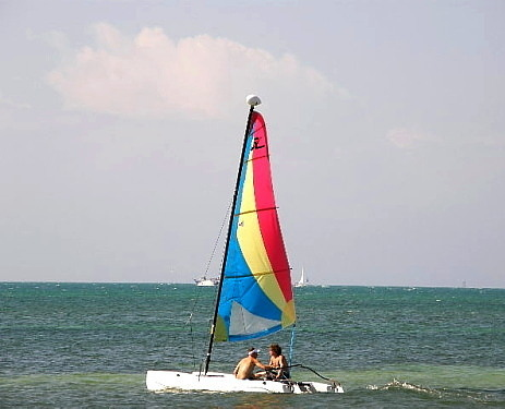 hobiecat on the beach